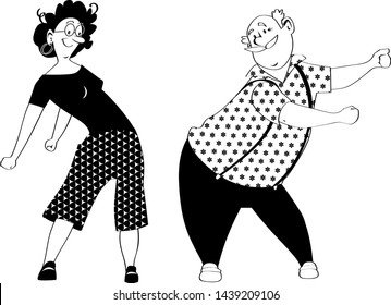 Senior couple doing a floss dance, EPS 8 black vector silhouette, no white objects