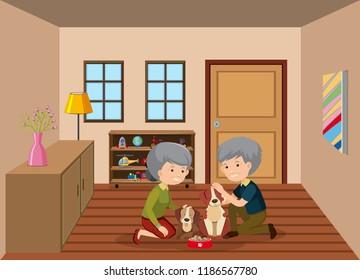 Senior couple feeding dogs illustration