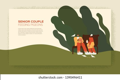 Senior couple feeding pigeons in the park - flat characters vector illustration