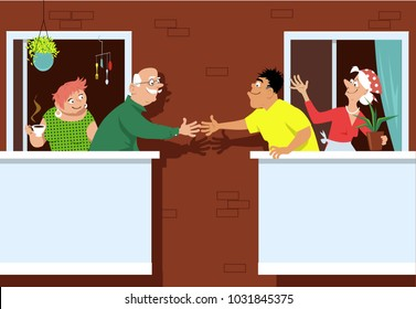 Senior couple greeting new neighbors standing on a patio at a multifamily retirement community, EPS 8 vector illustration
