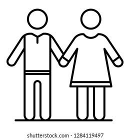 Senior couple icon. Outline senior couple vector icon for web design isolated on white background
