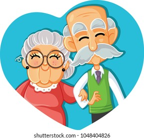 Senior Couple in Love Vector Cartoon Illustration. Grandma and grandpa celebrating long-term relationship