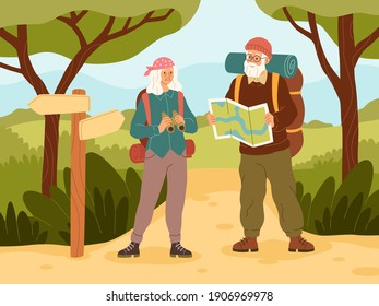 Senior couple on vacation. Active elder character people travel, grandfather and grandmother with backpack on summer trip adventure, outdoor walking in woods. Trekking and hiking vector concept