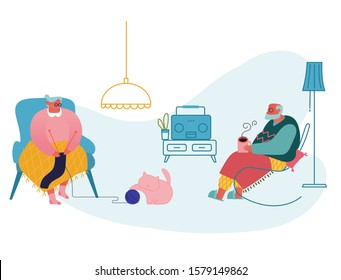 Senior Couple Relax Sitting in Living Room. Woman Knitting Clothing, Man Drinking Tea and Listen to Radio. Granny and Grandpa Spare Time at Home, Grandparents Leisure. Cartoon Flat Vector Illustration