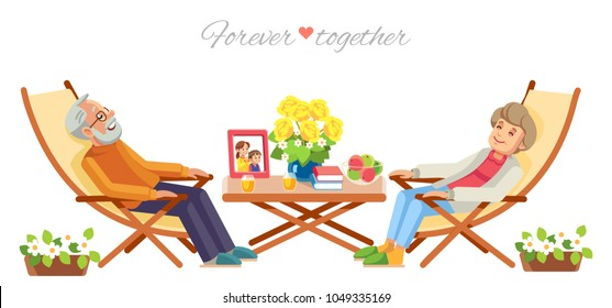 Senior couple relaxing in garden, isolate on white background. vector flat illustration