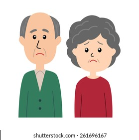 A senior couple with a sad facial expression, vector illustration