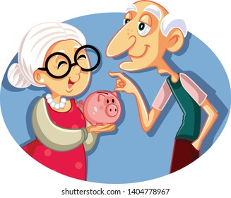 Senior Couple Saving for Retirement Vector Illustration. Elderly people having a mutual fund for pension economies