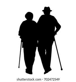 Senior couple silhouette on a white background, vector illustration