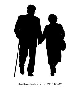 Senior couple silhouette on a white background, vector illustration