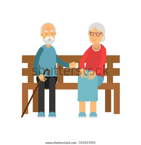 Wondrous Senior Couple Sitting On Wooden Bench Stock Vector Royalty Bralicious Painted Fabric Chair Ideas Braliciousco