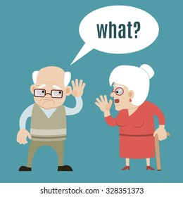 Senior couple - speaking old woman and hard of hearing man holding hand to his ear. Vector art, flat design on isolated background. Could be used as illustration of deaf problem, hearing loss, aging.