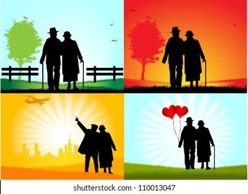 Senior Couple ,   vector graphic