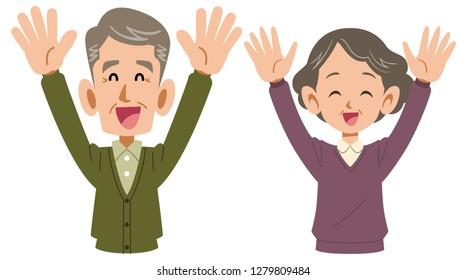 Senior couple who rejoice great upper grandparents and grandmothers