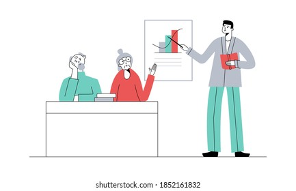 Senior education. Elderly people on lesson or courses in college or university. Teacher at blackboard asks elderly woman with raised hand. Vector flat illustration.