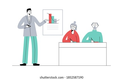 Senior education. Elderly people on lesson or courses in college or university. Teacher at blackboard explains the topic. Vector flat illustration.