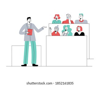 Senior education. Shcool and university education. Learning for elderly people. Education for all concept. Vector flat illustration.