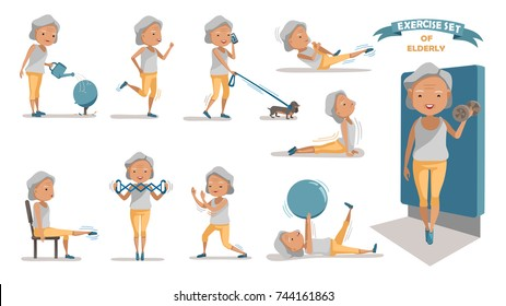 Senior exercise of female. exercising character design set. at home with a simple daily routine. Concept of health care people in the elderly.  Elderly woman of Full Body cartoon set.