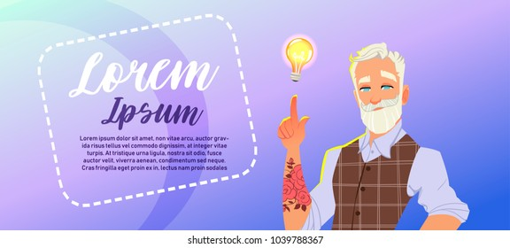 Senior fashion man Hold Light Bulb. Businessman having an idea. Background Horizontal Bannner