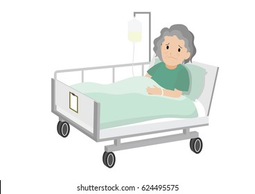 Senior female Patient Resting In Hospital Bed. Sad old woman lying in a hospital bed.  Isolated vector illustration.