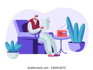 Senior Grey Haired Man in Glasses Sitting in Armchair Reading Newspaper and Listening Music on Radio. Aged Male Character Sparetime, Leisure and Hobby in Nursing Home. Cartoon Flat Vector Illustration