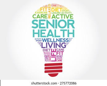 Senior health bulb word cloud, health concept