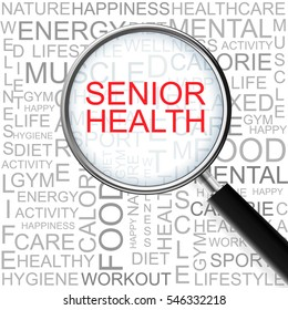 Senior Health. Magnifying glass over seamless background with different association terms.