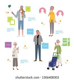 Senior illustration vector using smartphone