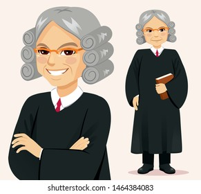 Senior judge man standing holding book and crossed arms pose