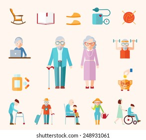 Senior lifestyle flat icons set with elderly family couple isolated vector illustration