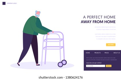 Senior Man, Aged Grandfather Moving with Help of Front-wheeled Walker. Walking Frame Metal Tool for Elderly People Going Ability Website Landing Page, Web Page Cartoon Flat Vector Illustration, Banner