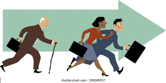 Senior man with a cane having problem to keep up with younger colleagues, vector illustration, EPS 8
