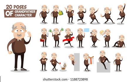 Senior man character animated set. Bald man holding money, gift box and shopping bag. Having fun together granddaughter and dog. Doing thumbs up, finger pointing and hello gestures vector illustration