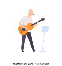 Senior man character playing guitar, elderly people leading an active lifestyle social concept vector Illustration on a white background