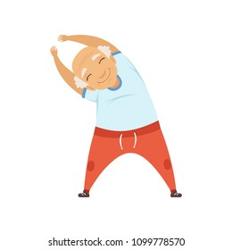 Senior man doing sport exercise, incline to side, character doing morning exercises or therapeutic gymnastics, active and healthy lifestyle vector Illustration