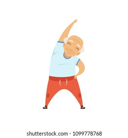 Senior man doing sports, character doing morning exercises or therapeutic gymnastics, active and healthy lifestyle vector Illustration on a white background