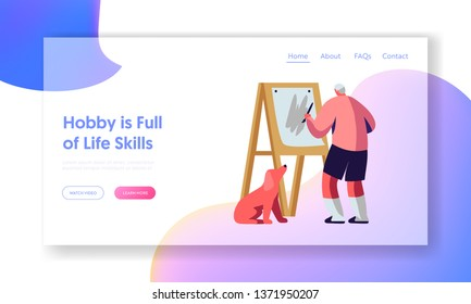 Senior Man Drawing on Easel. Old Male Painter Painting on Canvas, Elderly Male Character Creative Occupation and Artist Hobby Website Landing Page, Web Page. Cartoon Flat Vector Illustration, Banner