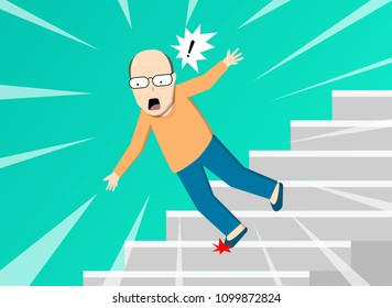 Senior man falling from staircase, vector art