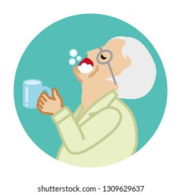 Senior man gargling with water for prevent cold - Circular icon