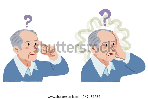 Senior man with gesture of having forgotten something, suffering from amnesia.