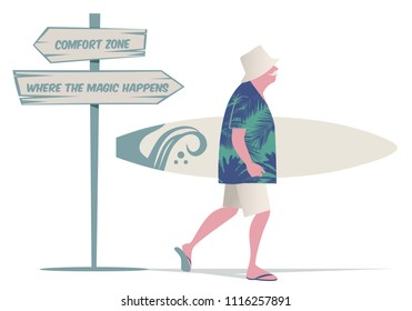 Senior man with hat, tropical shirt and bermuda shorts, walking with a surfboard. Wooden sign post with motivational message. Isolated on white background.