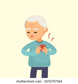 Senior man having a heart attack, elderly with chest pain cartoon, vector illustration.