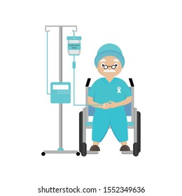 Senior man patient with cancer. Chemotherapy and oncology disease concept. Cartoon vector
