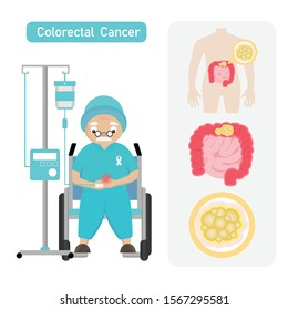 Senior man Patient with Coloreactal Cancer in cartoon style.