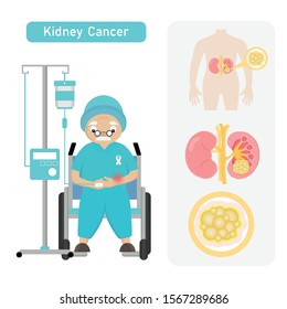 Senior man Patient with Kidney Cancer in cartoon style.
