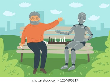Senior man playing chess with robot on the bench outdoors. Futuristic concept.