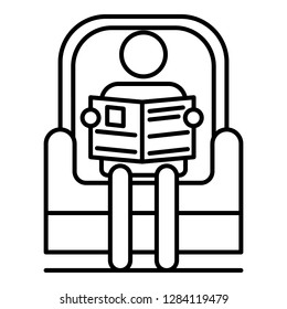 Senior man read newspaper in armchair icon. Outline senior man read newspaper in armchair vector icon for web design isolated on white background
