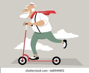 Senior man riding a kick scooter, EPS 8 vector illustration, no transparencies