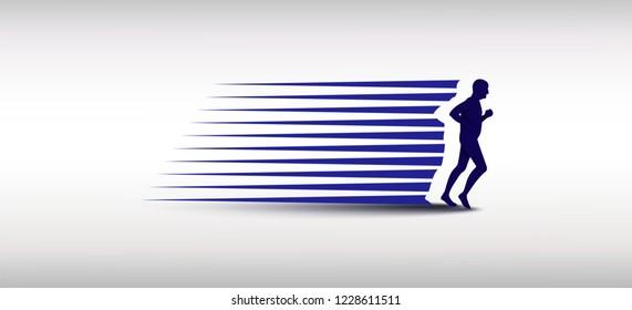 Senior man running silhouette logo Designs, Marathon logo template, running club or sports club.