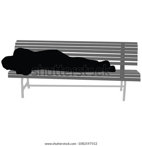 Pleasing Senior Man Sleeping On Wooden Bench Stock Vector Royalty Unemploymentrelief Wooden Chair Designs For Living Room Unemploymentrelieforg
