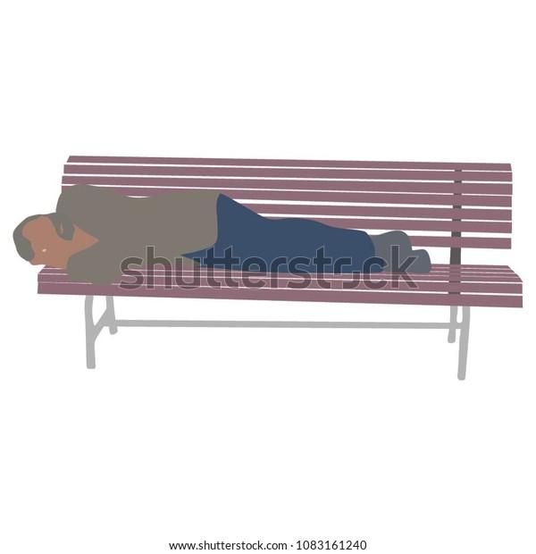 Sensational Senior Man Sleeping On Wooden Bench Stock Vector Royalty Unemploymentrelief Wooden Chair Designs For Living Room Unemploymentrelieforg